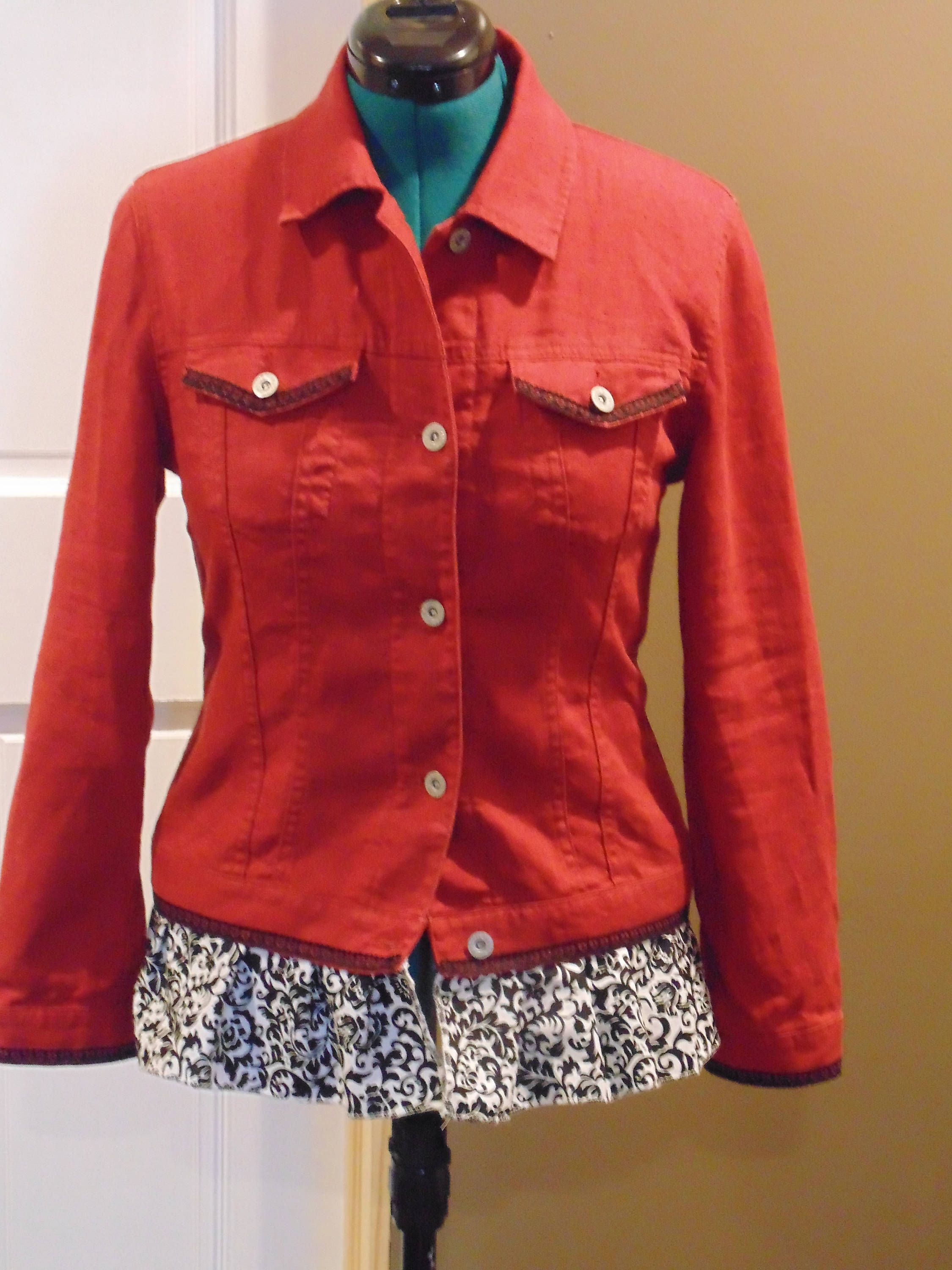 Refashioned Red/Black Linen Jean Jacket Size Small with a corset back by RefashionedApparel on Etsy