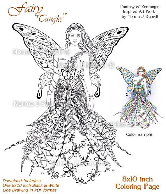 fay goddess fairy tangles printable coloring sheets adult digi coloring book pages 8x10 beautiful fairies coloring pages for adults kids