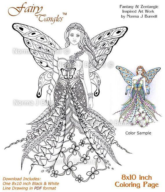 Fay Goddess - Fairy Tangles Printable Coloring Sheets Adult Digi ...