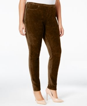 Style & Co Plus Size Corduroy Leggings, Only at Macy's - Brown 2X