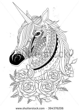 Sacred Unicorn With Roses Adult Coloring Page My