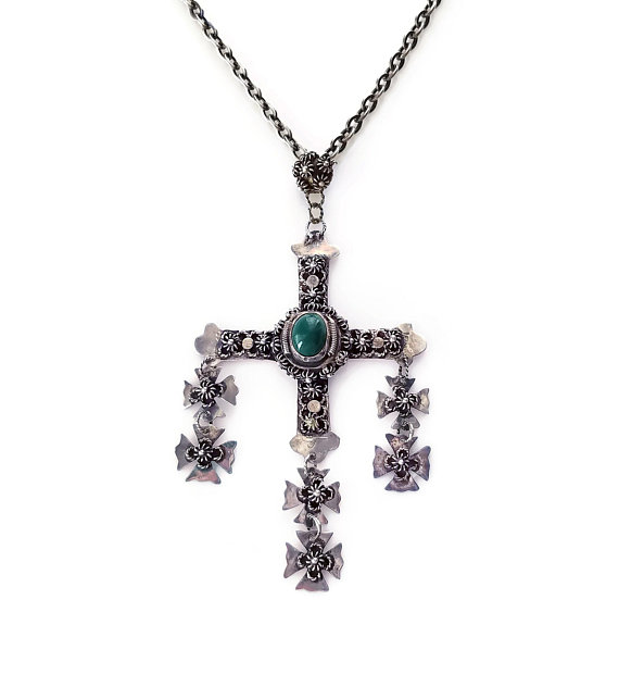 c8a9c82760c Taxco Mexico Sterling Large Cross Necklace, Mexican Jewelry, Jade Glass,  Filigree Metal, Cannetille,