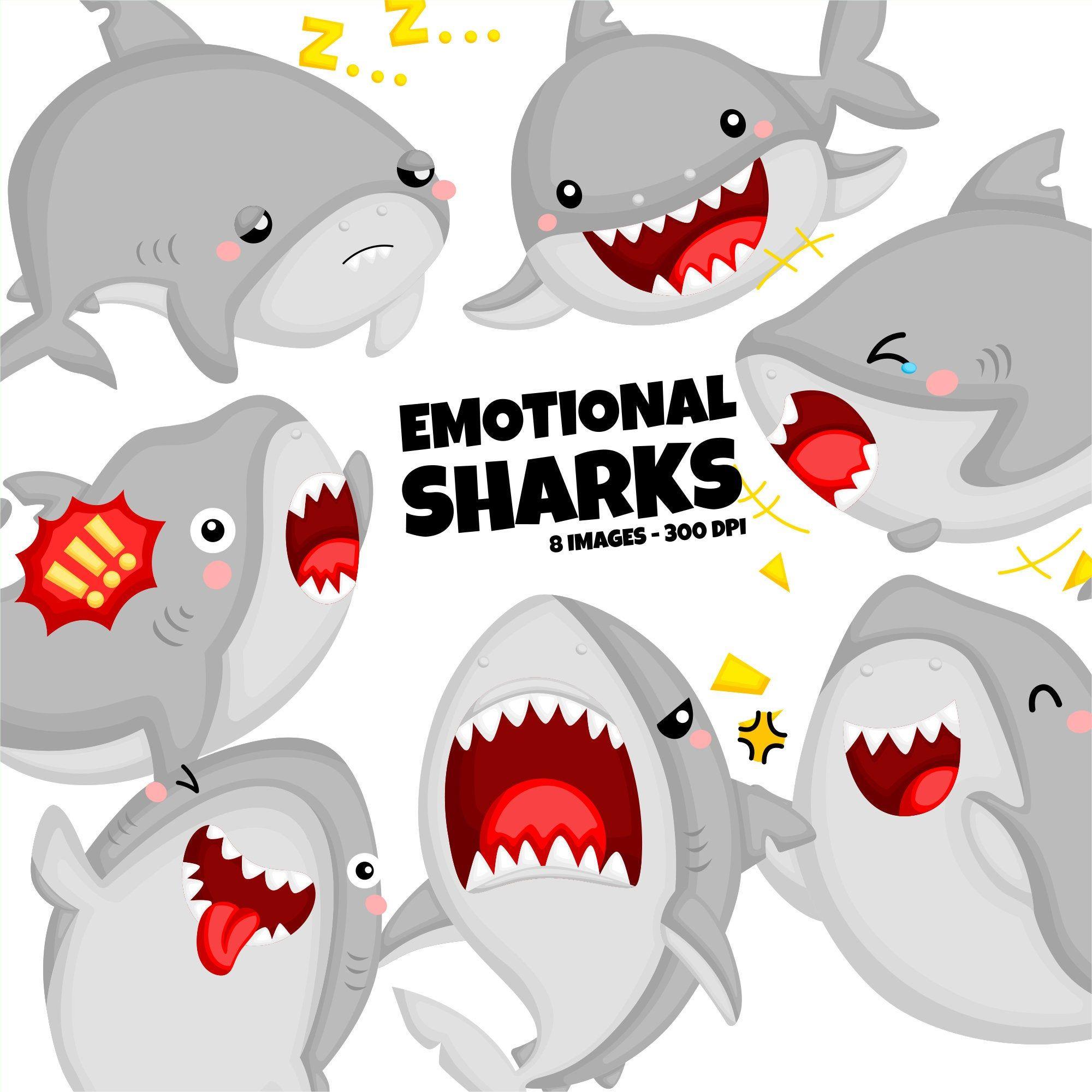 Emotional Sharks Clipart Cute Shark Clip Art Cute Animal Etsy In 2021 Animal Clipart Free Cute Animal Clipart Animal Clipart