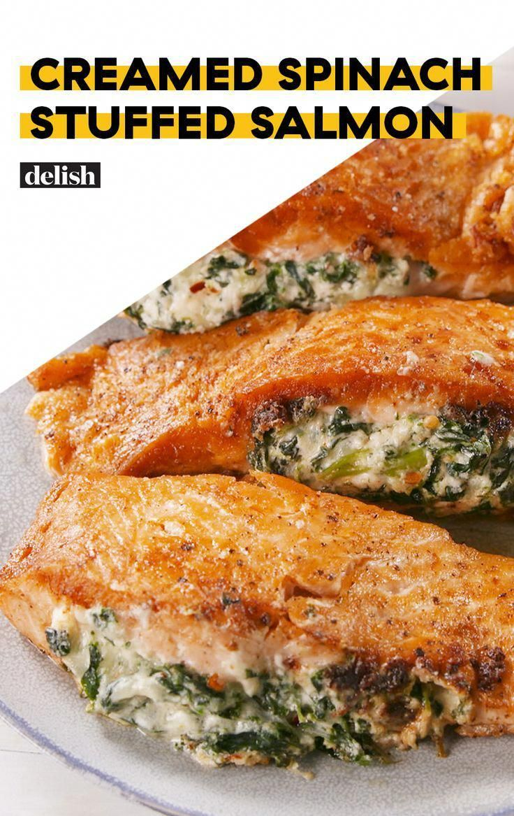 Creamed Spinach–Stuffed Salmon #seafooddishes