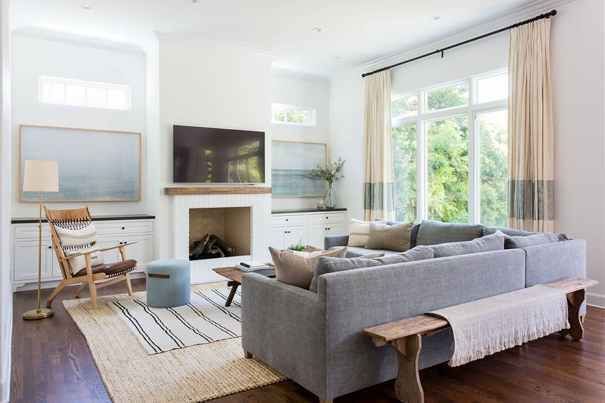 Layout tv in the middle  artwork on sides inside  modern pacific palisades home tour mydomaine also this striking is giving us serious chills rh pinterest
