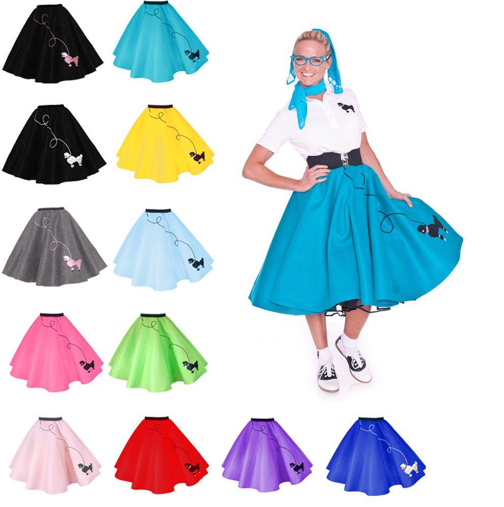 Hip Hop 50s Shop Womens Poodle Skirt Vintage Style Halloween Dance Costume