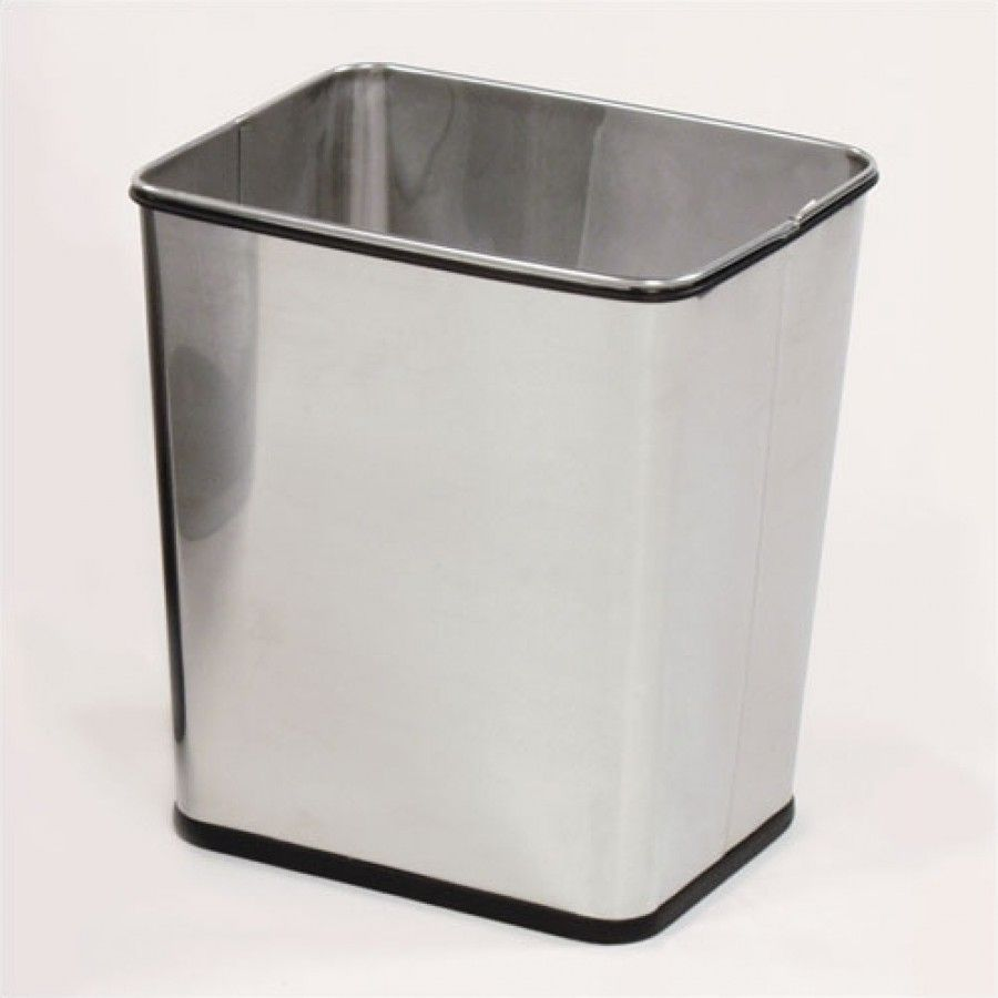 Rubbermaid commercial stainless steel wastebasket united receptacle wb29rss wb29rss for Commercial bathroom fixtures stainless steel