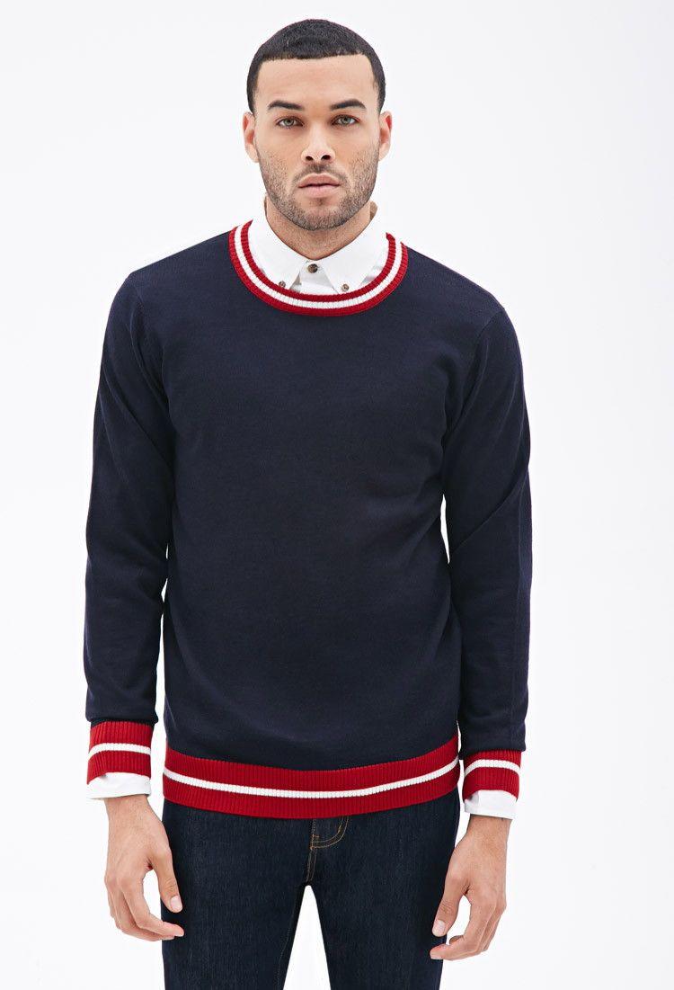 Striped Trim Sweater Promo 21menshoodiestees