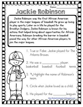Jackie Robinson Reading Passage | Reading passages, Jackie ...