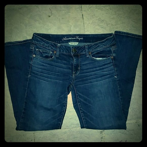 """American eagle jeans American eagle size 6 short jeans, they're short jeans will fit anybody length-wise that's like 5'4-5"""" or shorter because I'm about 5'4"""" and they fit me perfectly length wise they're just too big on me now, in great condition, selling because I'm too small for a size 6 now, like new, not worn often, offers are welcome but I'm not willing to take a lowball price, just because they're in great condition and I'd rather keep them in case I ever fit back into them than sell…"""