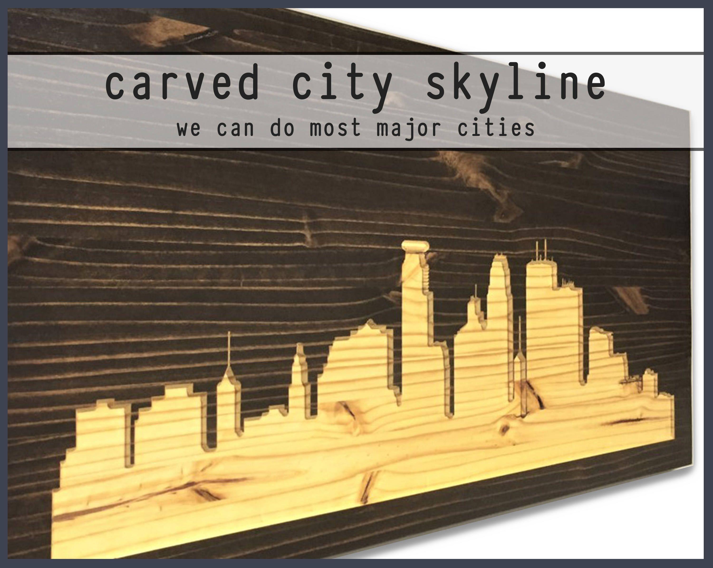 Carved Wood Wall Art, Skyline Wall Decor, Minneapolis Skyline, Wood ...