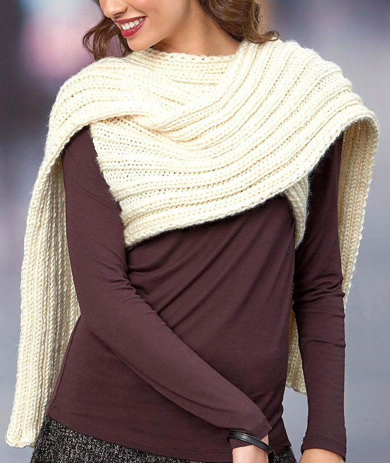Free Knitting Pattern for Easy Scarf Wrap With Arm Holes ...