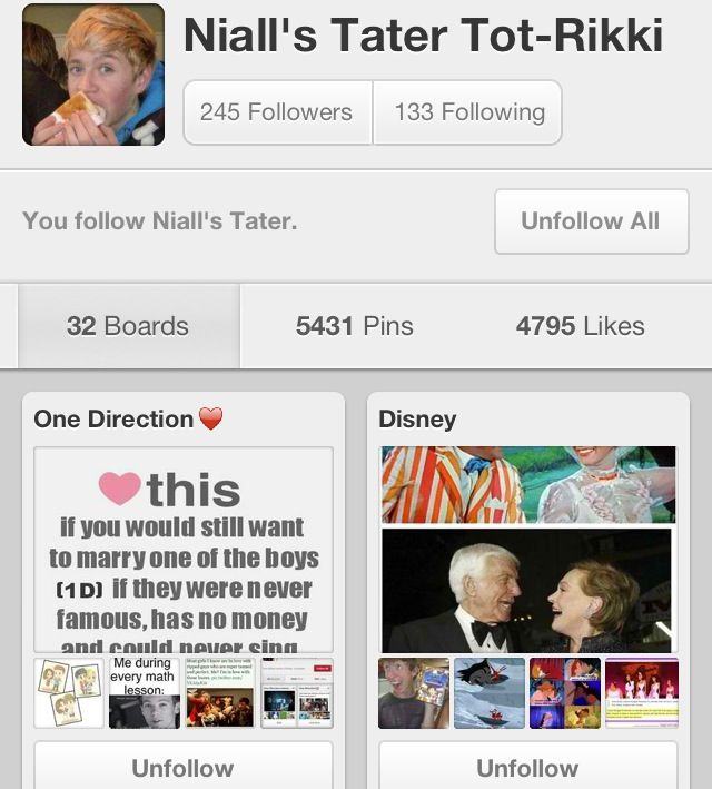 Hello Everyone! You should go follow Niall's Tater Tot-Rikki! She's a Directioner and her boards are fantastic!!! So go follow(: