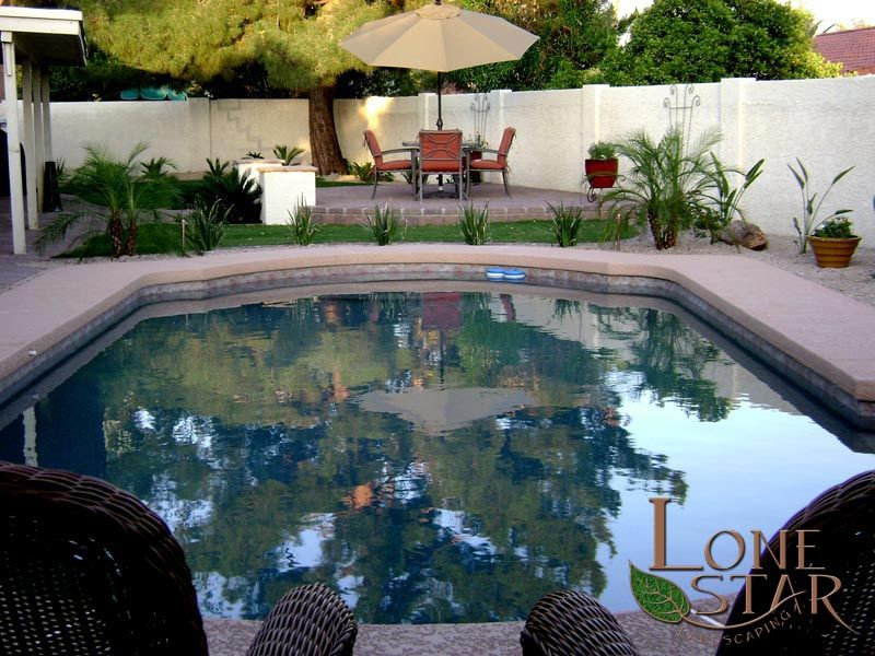 Oasis Landscaping Around Pool With Pad For Patio Furniture In - Patio furniture chandler az