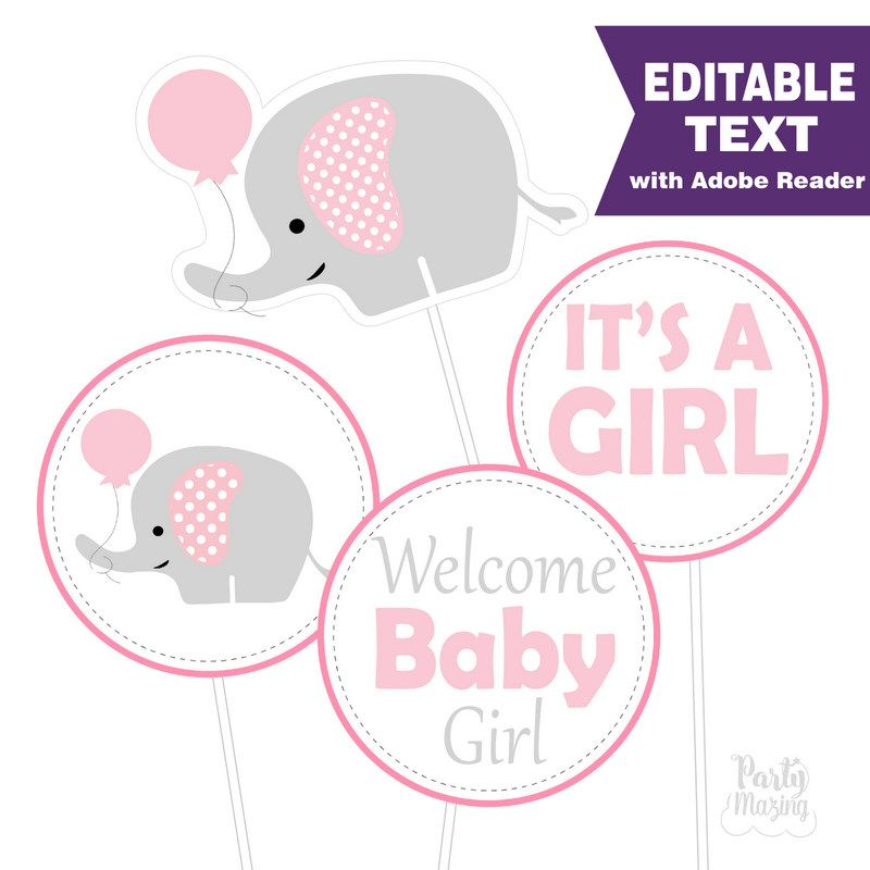 3 Tier Pink And Gray Elephant Diaper Baby Shower