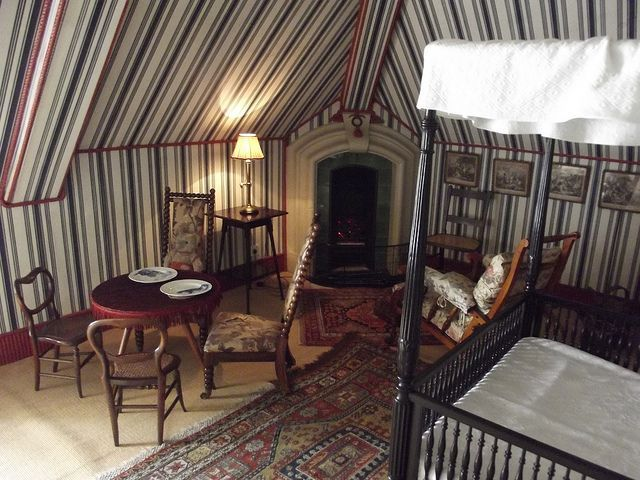 Striped Nursery In English Attic Tent Room Childrens