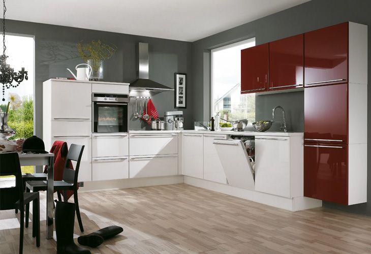 küchen design idee in rot und weiß | küche | Pinterest | Küchen ...