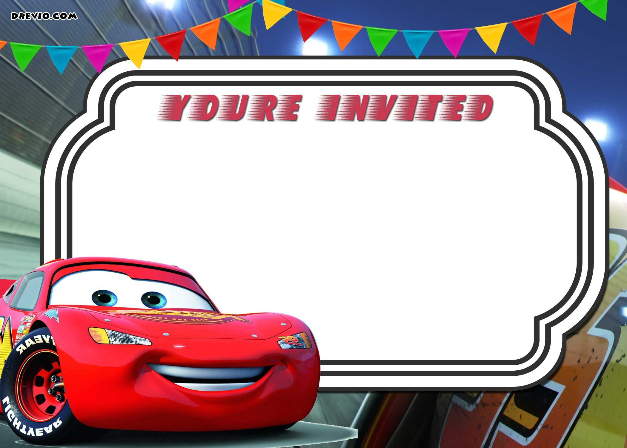 free printable cars 3 lightning mcqueen invitation template go