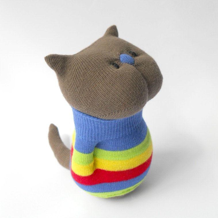 stuffed animal toy cat kitten sock animal door TreacherCreatures, $18,00