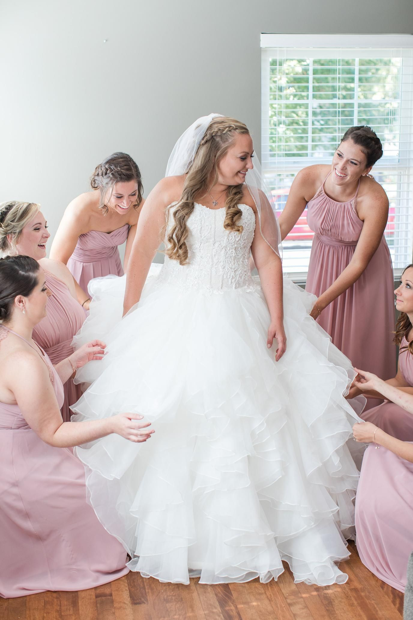 Dusty Rose And Navy Wedding At Glenwoo Golf Club In Glenwood Illinois Blush Bridesmaid Dresses Ball Gown Dress By Megan Goggins Photography
