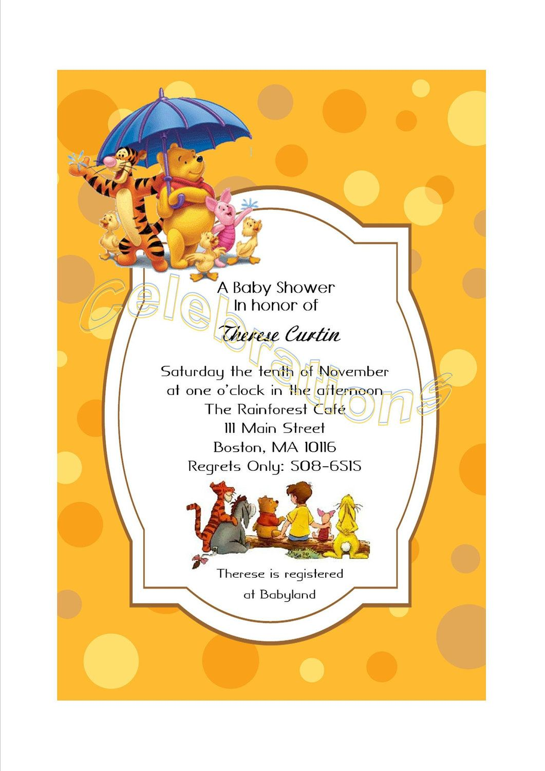 Winnie the Pooh themed baby shower invite - For inspiration ...