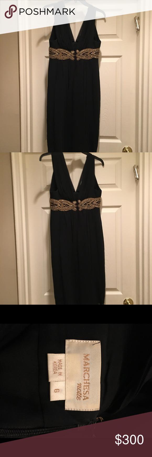 Marchesa Black Evening Dress With Gold Trim Black Evening Dresses Marchesa Dress Dresses