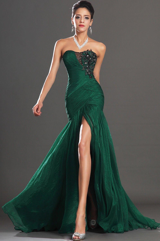 Prom dress new arrival 2016 mermaid pageant dress emerald green - Mermaid Dresses With Slit Appliques Front Slit Emerald Green Chiffon Mermaid Evening Dress