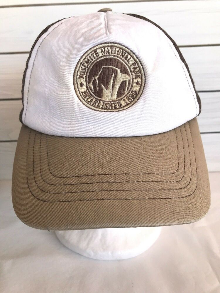 2ad970d8a5758 Yosemite National Park Established 1890 Mesh Snapback Trucker Hat Brown  White  Unbranded  TruckerHat
