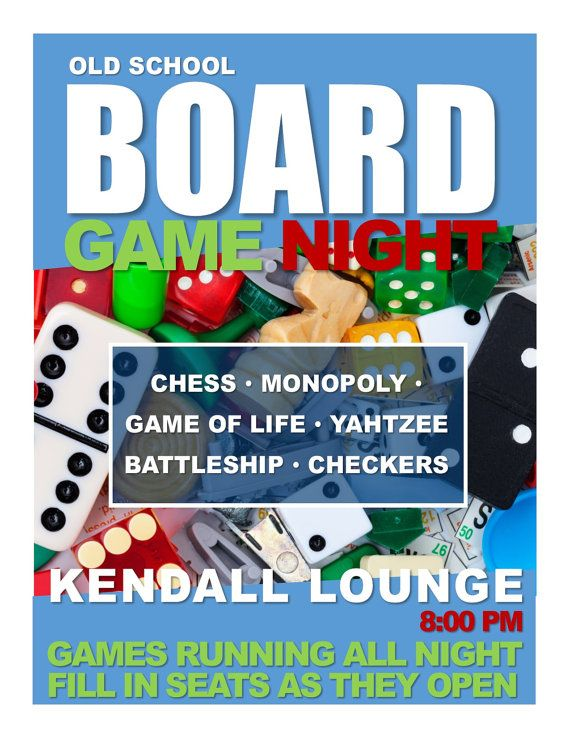 Board Game Night - Program Advertisement - Text Fully