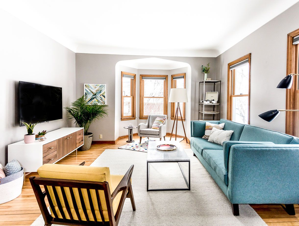 Grey Living Room Ideas With A Mid Century Modern Style Teal