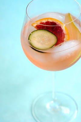White Sangria - with pear, cucumber, blood orange, and St. Germain elderflower liqueur.