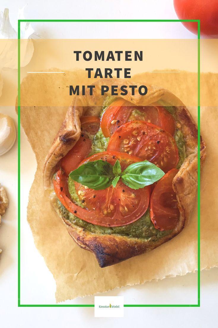 Tomaten Tarte mit Pesto #vegetarischerezepteschnell
