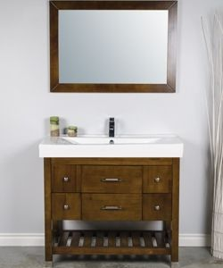 This 40 Inch Bathroom Vanity With An Open Bottom Shelf For Storage The Large Integral Sink Is Easy To Clean Below A Tip Out Tray Small