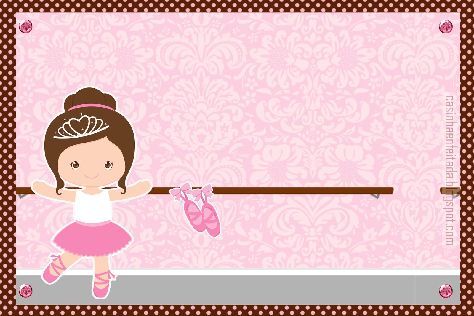 8fd5b83a7c Kit Festa Bailarina Marrom e Rosa Para Imprimir