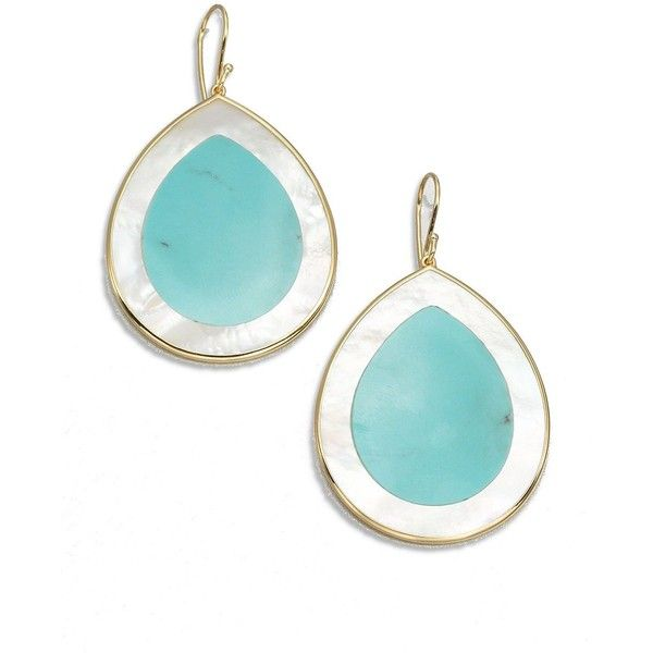 IPPOLITA Polished Rock Candy Turquoise, Mother-Of-Pearl & 18K Yellow... ($598) ❤ liked on Polyvore featuring jewelry, earrings, ippolita earrings, teardrop earrings, fine jewelry, yellow gold earrings and turquoise earrings