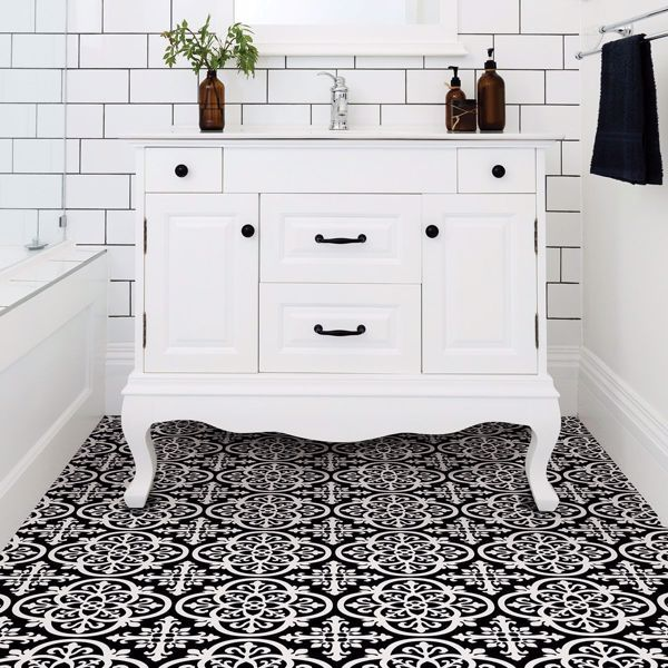 A Matte Black Kitchen Makes A Bold Statement In This: Gothic Peel And Stick Floor Tiles In 2020