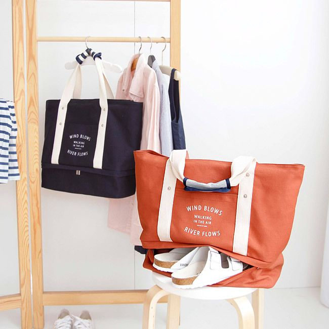 Iconic Travel large tote bag with bottom compartment | Large tote