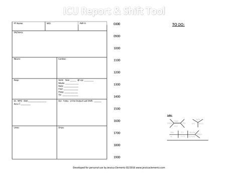 Nurse Brain Sheet  Icu Report And Shift Tool  Nursing