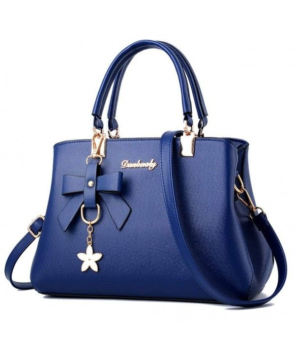 844d9b1887b4 Women's Top Handle Handbags Shoulder Bag PU Leather Tote Bags - Blue ...