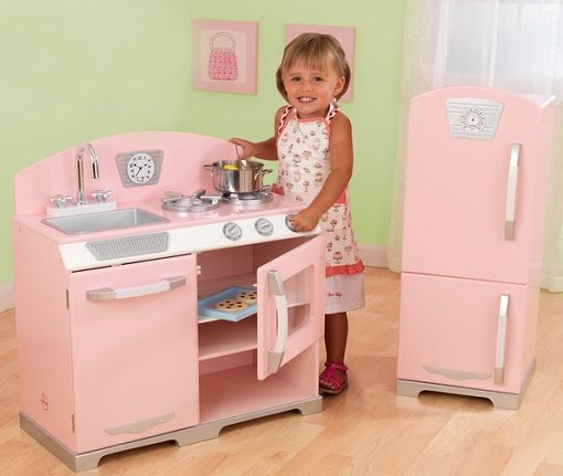 Retro Pink Kids Kitchen And Refrigerator for Little Chef