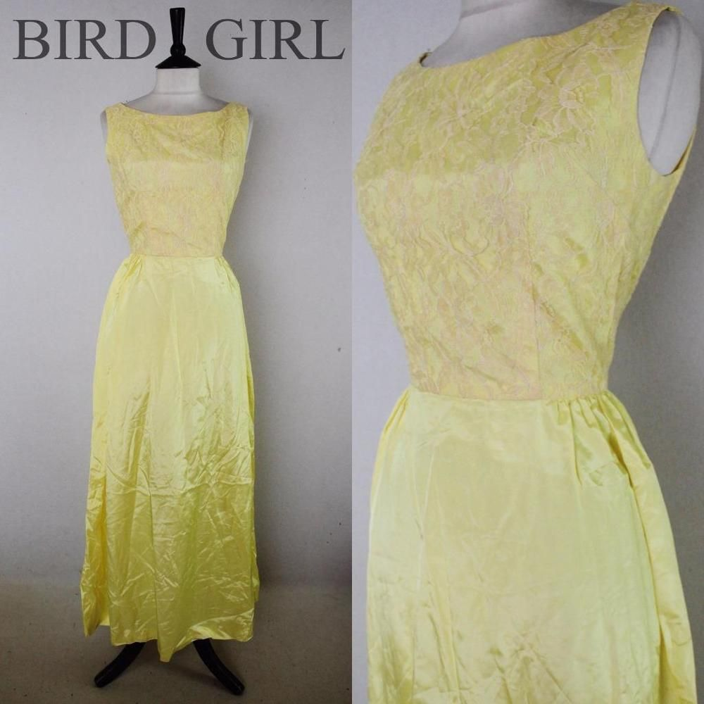 Floral lace bodice s vintage lemon yellow evening prom maxi