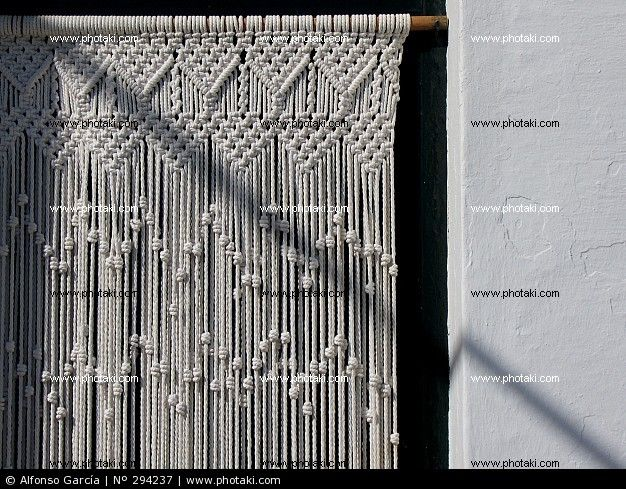 i want this macrame curtain macrame weavings pinterest macram rideaux et artisanal. Black Bedroom Furniture Sets. Home Design Ideas