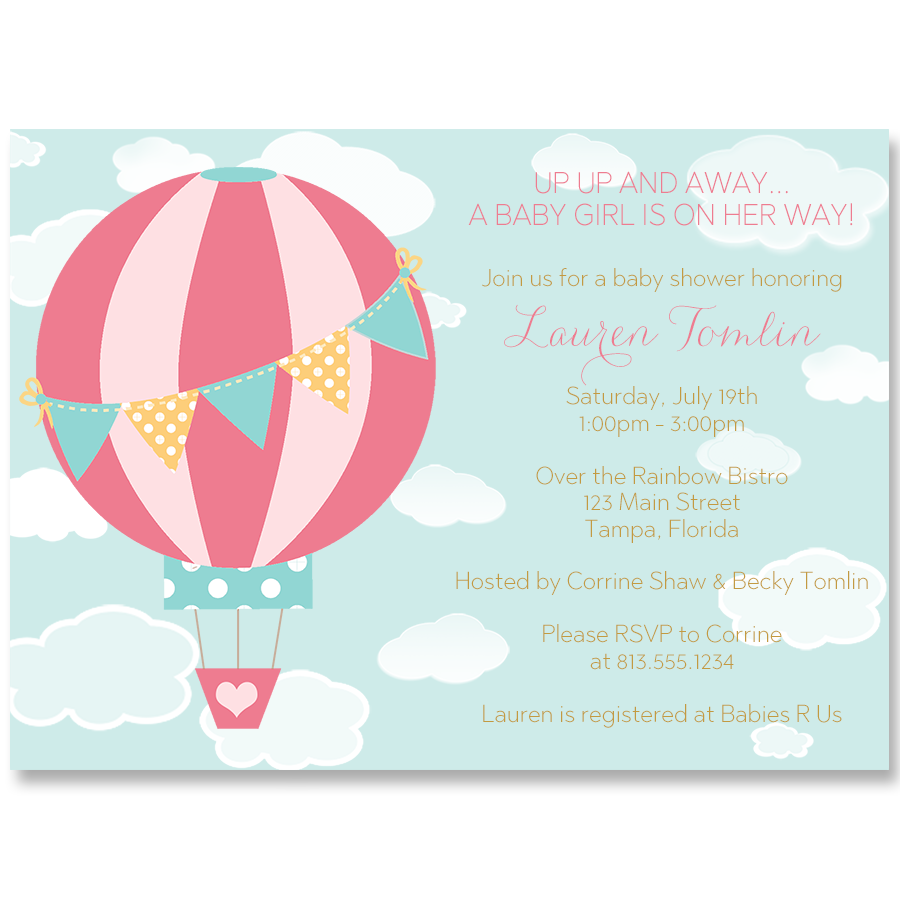 Up and away hot air balloon baby shower invitation balloon up and away hot air balloon baby shower invitation filmwisefo