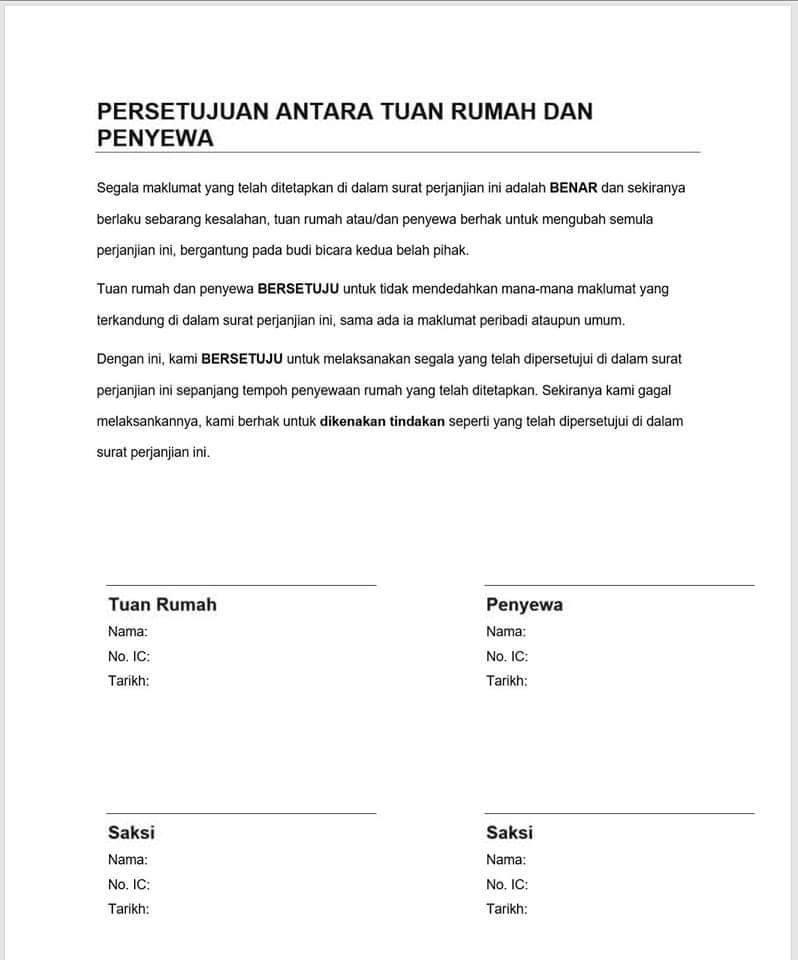 Contoh Surat Perjanjian Sewa Rumah, Pimilik WAJIB Buat
