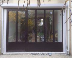 Menuiserie en aluminium style atelier coloris noir 9005 for Baies vitrees style atelier