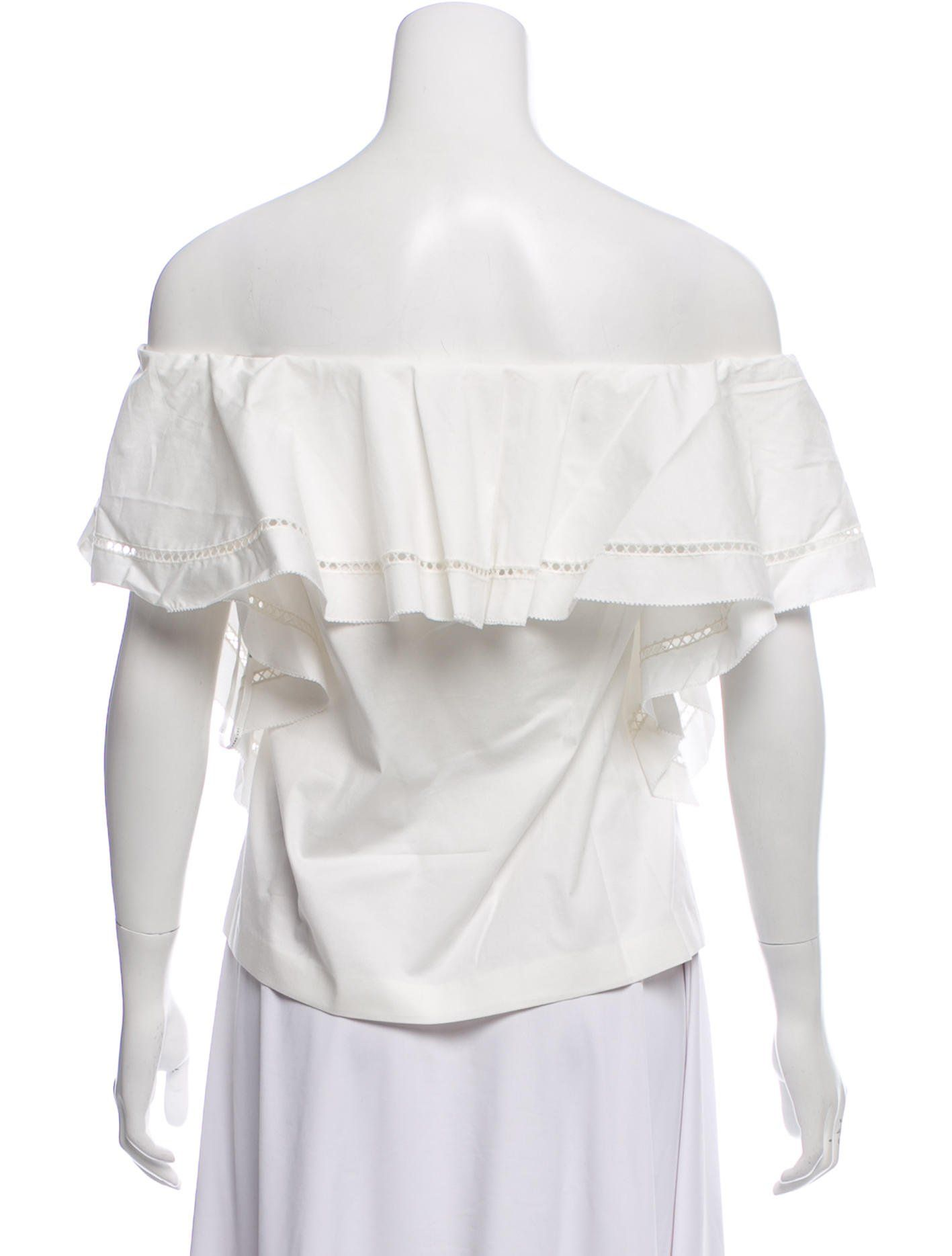 1b4c64a40f2 White Rachel Zoe Leanna off-the-shoulder top with eyelet trim throughout,  ruffled layers at short sleeves and tonal stitching.