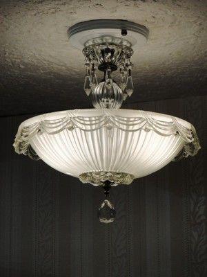 Antique Art Deco Semi Flush Mount Glass Ceiling Light Fixture