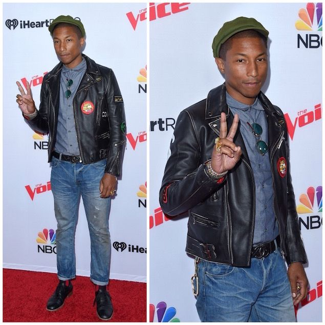 Pharrell Williams Wears Lewis Leathers Biker Jacket And Chanel Belt At The Voice Event Upscalehype メンズファッション メンズファッションスタイル ファッションアイデア