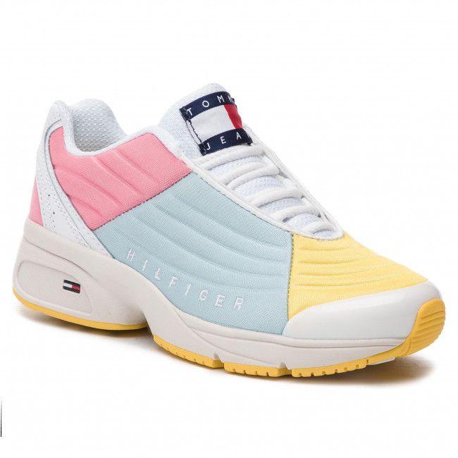 e8077208b9 Sneakersy TOMMY JEANS - Color Block Tommy Jeans Sneaker EN0EN00554 Geranium  Pink Canalblue Aspeng 901