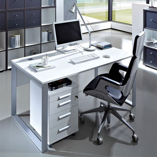 Linea Gloss White Computer Desk With Cabinet White Computer Desk Computer Desk Desk